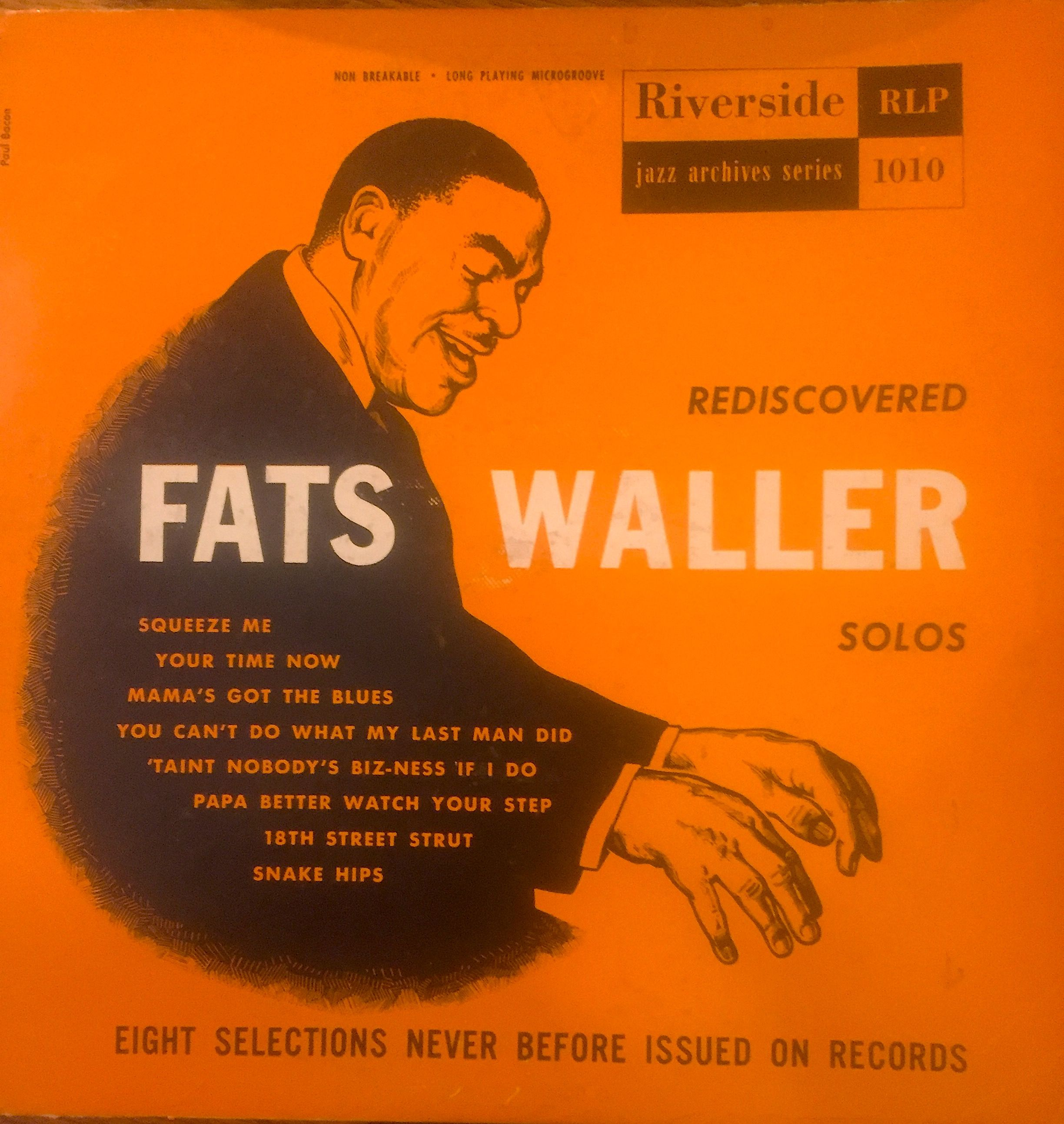 Fats Waller Rediscovered Solos Riverside Records Rlp 1010 10 Lp With Images Fats Waller Vinyl Record Album Classic Album Covers