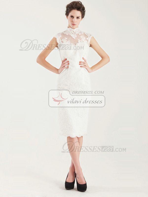 40c23b28ae456 USD $89.99Noble Sheath High neck Tea-length Short Sleeve #Wedding #Dresses  #online