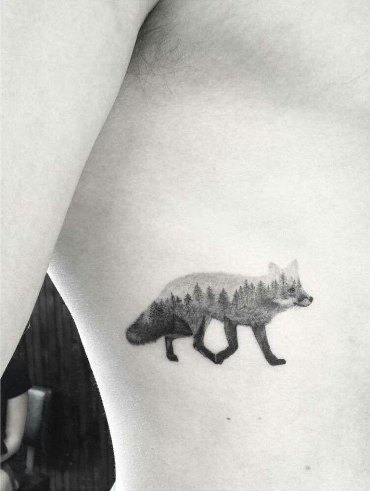 Tattoo Of A Fox With Images Landscape Tattoo Animal Tattoo Fox Tattoo
