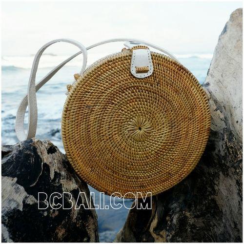 Circle Disc Handbags Rattan Design Full Handmade Limited Edition Leather Handle