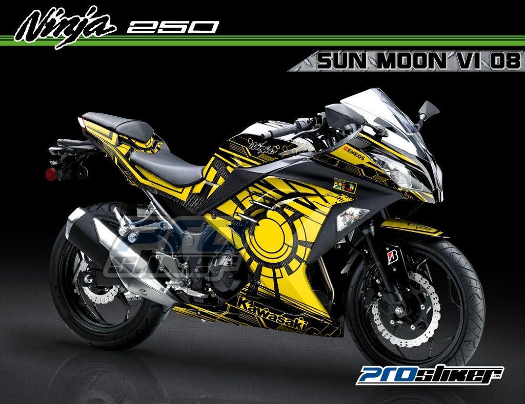 decal modifikasi ninja 250 fi warna hitam motif motogp valencia