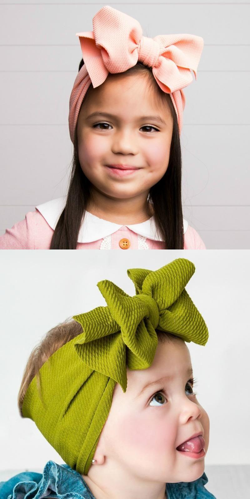Baby Kid Soft Bow Cute Turban Headwrap Top Knot Wide Elastic Oversized Headband