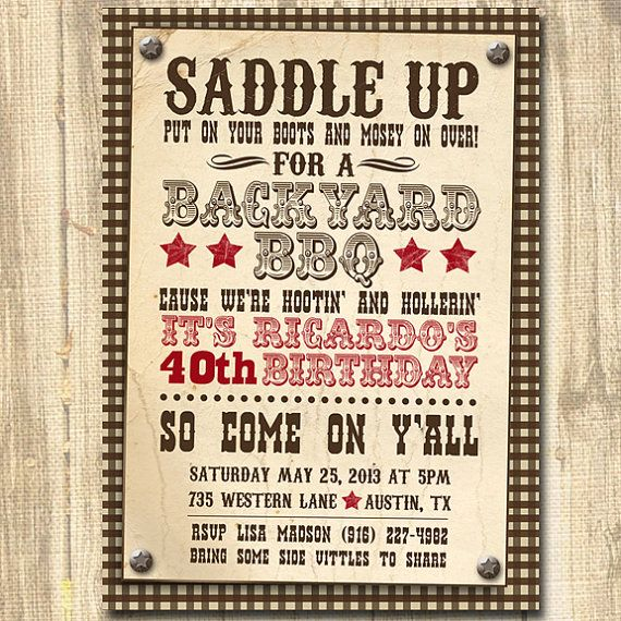 Western BBQ Birthday Printable Birthday Party Invitation – Cowboy Party Invitation Wording