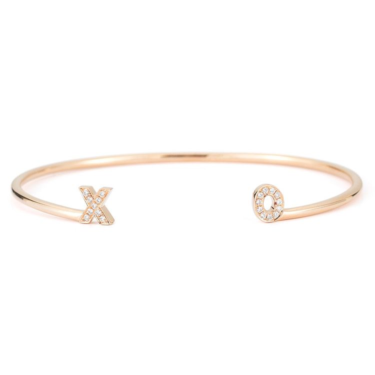 INITIAL CUFF customized diamond initial cuff in 14k rose gold and