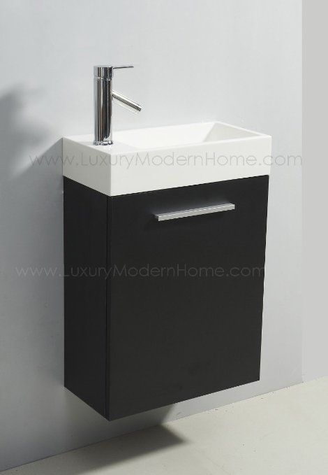 Vanity Sink 20 Quot Alexius Small Vanity Sink 20 Inch Espresso Floating Black Wall Hung Small Vanity Sink Small Bathroom Vanities Small Bathroom Cabinets