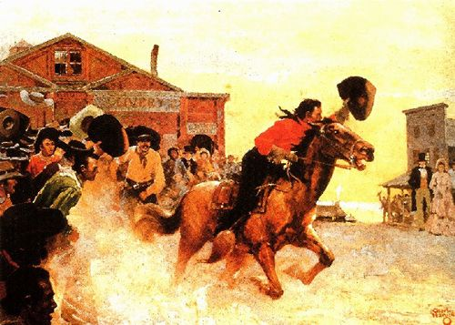 """""""In mid-19th Century America, communication between St. Joseph, on the fringe of western settlement, and gold mining communities of California challenged the bold and made skeptical the timid. Into this picture rode the Pony Express. In rain and in snow, in sleet and in hail over moonlit prairie, down tortuous mountain paths . . . pounding pony feet knitted together the ragged edges of a rising nation."""" Frank S. Popplewell"""