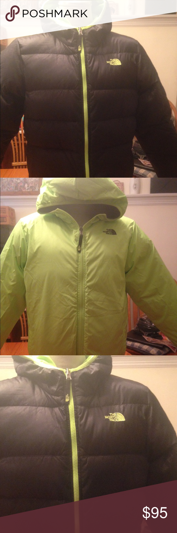Black And Lime Green Reversible North Face Coat North Face Coat Clothes Design North Face Jacket [ 1740 x 580 Pixel ]