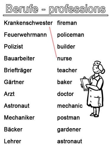 Arbeitsblätter Vorschule Berufe : Englisch lernen arbeitsblatt berufe zum