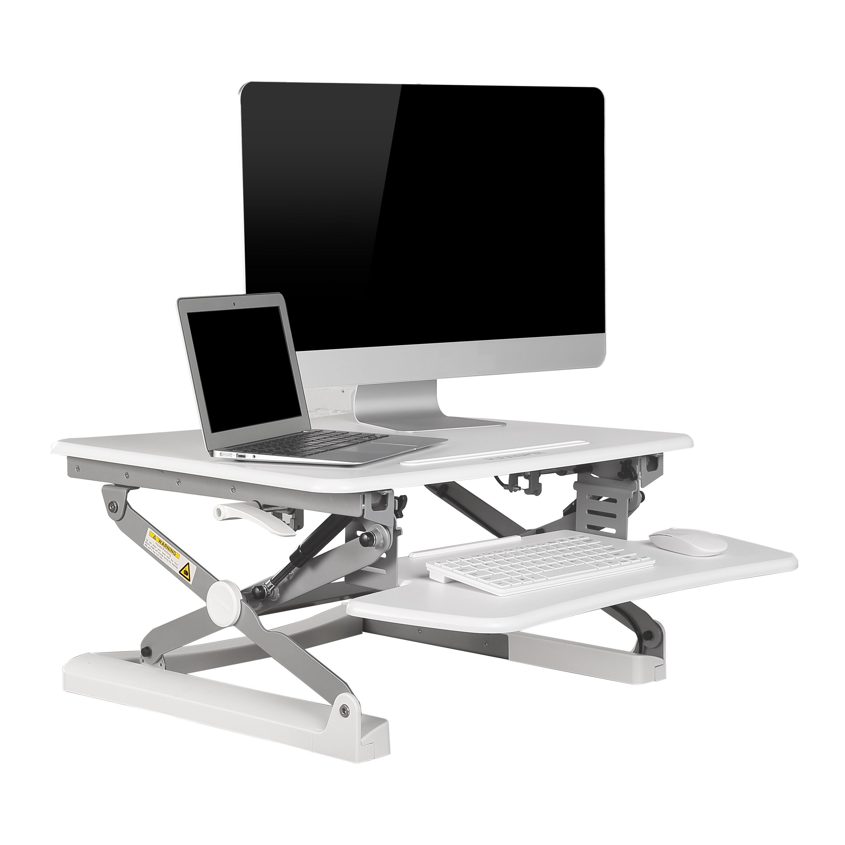 FlexiSpot M1W 27-inch Height-Adjustable Standing Desk Riser with Wide Keyboard Tray