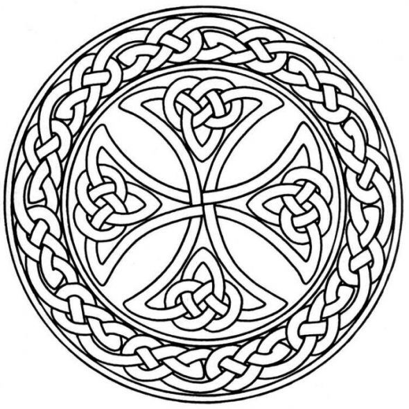 Celtic Cross Stained Glass Pattern  Stained Glass Flower Coloring