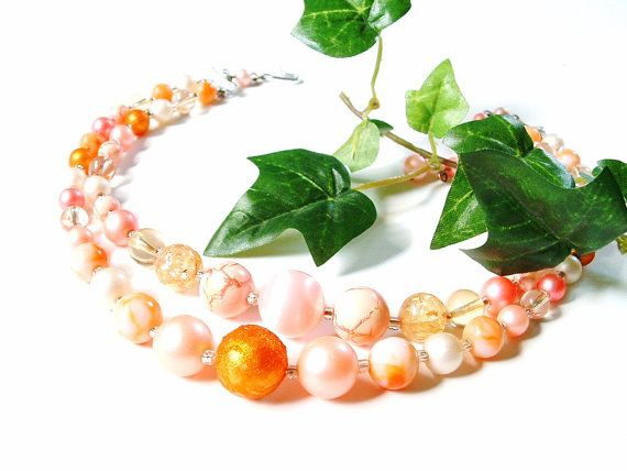 Orange Bead Necklace  Double Strand  by PrettyShinyThings4U, $10.00