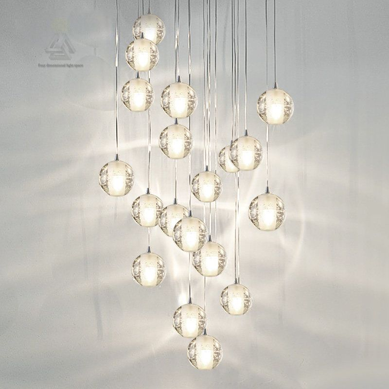Modern led crystal pendant lights fixtures for dining room magic ball loft stair crystal light meteor