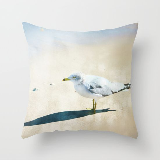 One Lone Seagull Throw Pillow