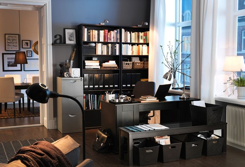 Exceptionnel Office Neutral Interior Decoration Inspiration Modern Style Workspace  Decorating Design Wooden Floor Among Black Furniture Workspace Deck Ideas  That Can ...