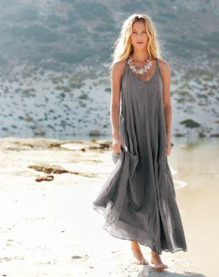 Women's Cotton-Gauze Long Dress - Garnet Hill