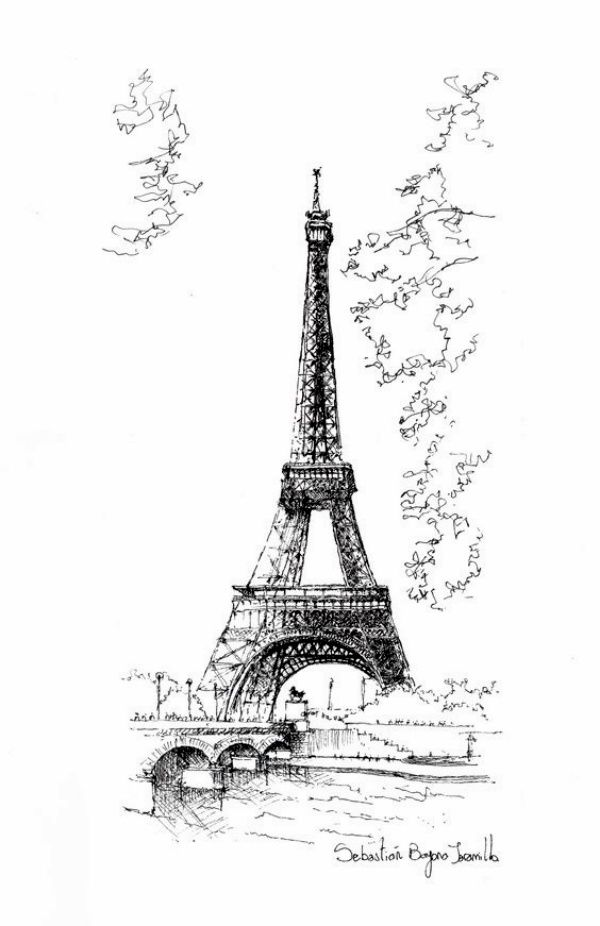 Easy and beautiful eiffel tower drawing and sketches00010