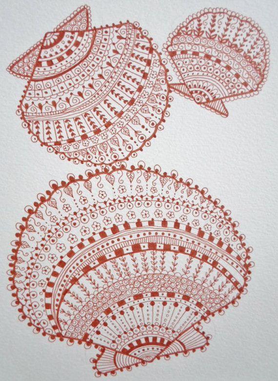 Zen Shells Henna Doodles Beach Print 8 X 10 Coral Color Art