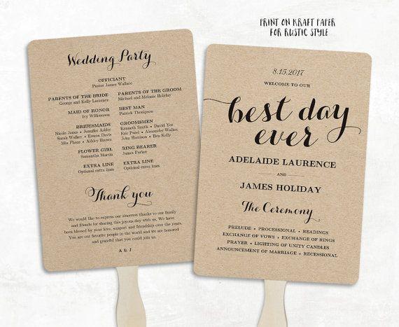 Printable Wedding Program Template Fan Wedding by VineWedding