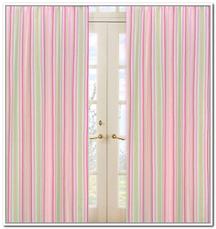 White And Pink Striped Curtains