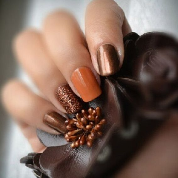 Fall nail inspiration,brown and orange nails,autumn nail