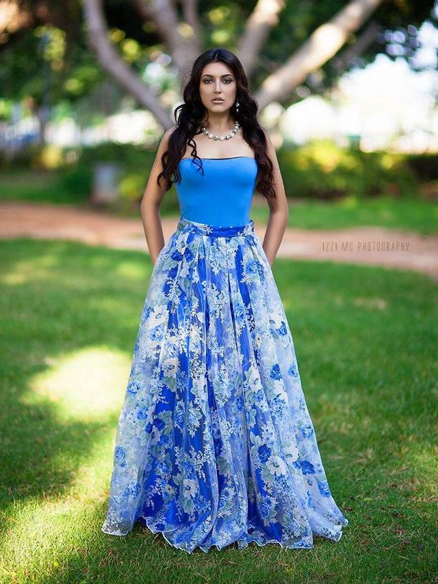 Long Blue Roses Organzasatin Evening Formal Prom Party Cocktail
