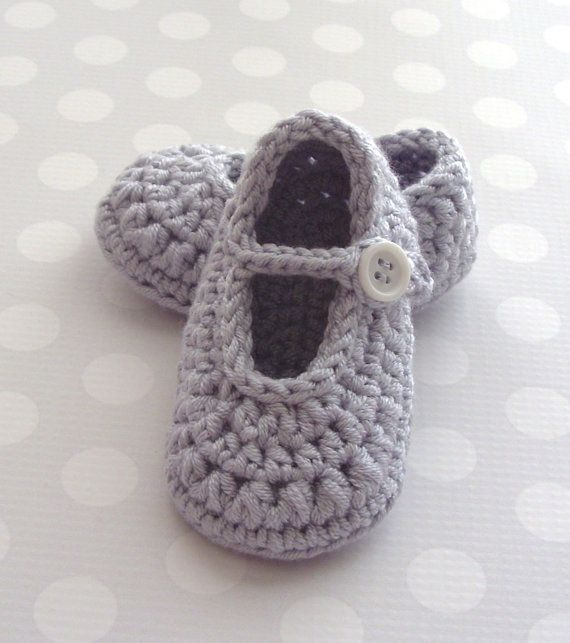 Crochet Baby Shoes, Mary Jane Crochet Booties, Cute Baby Shoes, 3 to ...