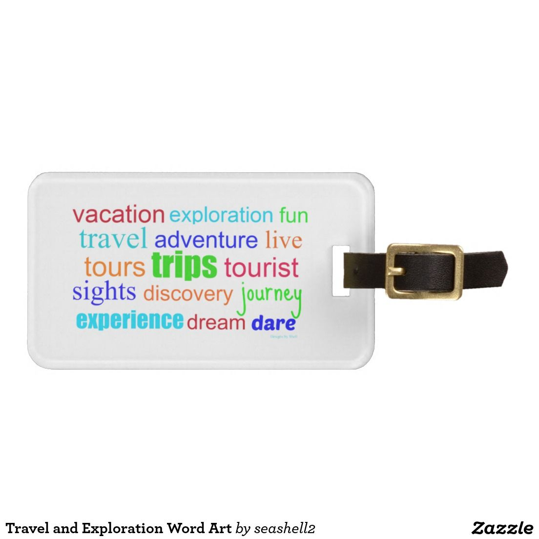 Travel and Exploration Word Art Bag Tag #travel #luggagetag #adventures