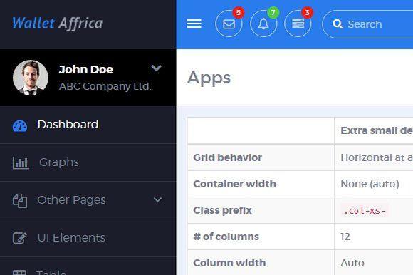 AppDash - Bootstrap Dashboard Navbar by odelee on