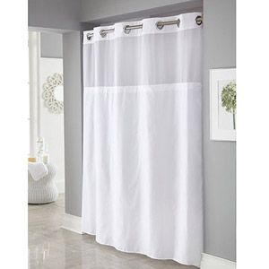 Hookless White Mystery Polyester Shower Curtains Bathroom