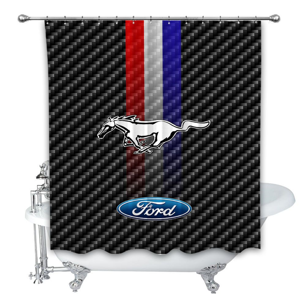 Rare Ford Mustang Logo Striped Custom Shower Curtain 100