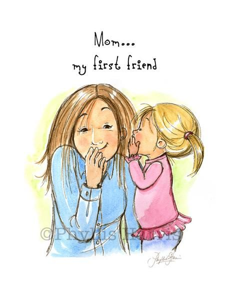Mom is the one you first play with and share your secrets with. Mom is your first friend.I originally did this illustration for a book titled, My Mama & Me published in August 2013 by Tyndale House publishers written by Crystal Bowman and Teri McKinley and illustrated by me. It's now available in this adorable prin