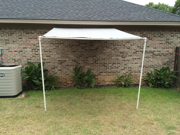 Tarp And Pvc Canopy Lean To Workspace Canopy Outdoor Outdoor Shade Pvc Canopy