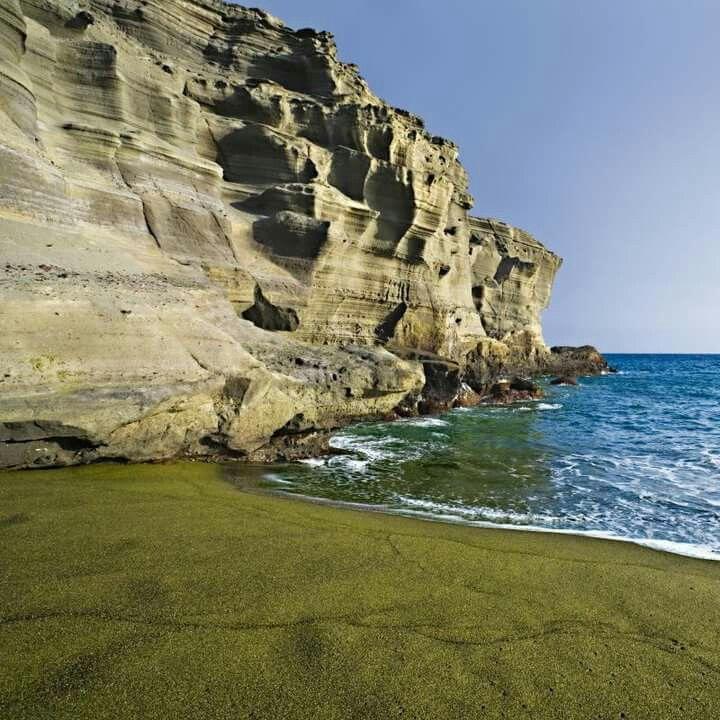 Green sand beach on Kona,  Hawaii