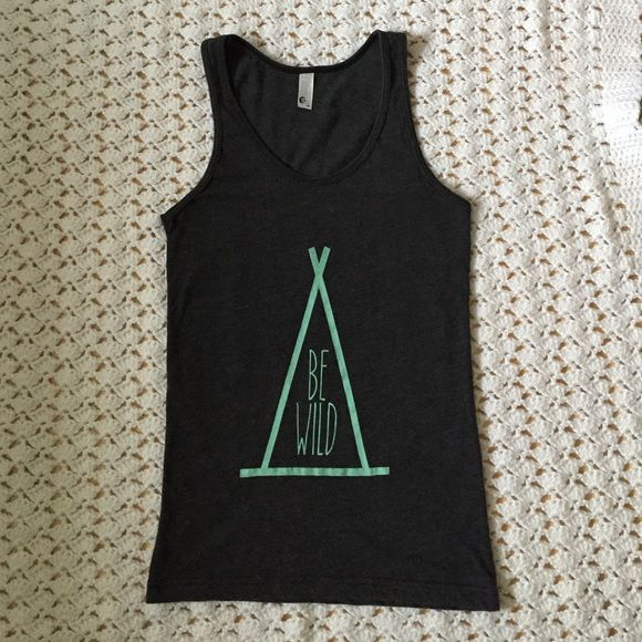"☀️SALE☀️ Be Wild Gray Graphic Tank Top Designed and printed by Sandi Lake Clothing Co. In Oregon. 50 cotton/50 poly charcoal heather gray American Apparel brand tank with mint green tipi/Be Wild. Fitted. 14"" across at armpits, 25"" long shoulder to hem. In great worn condition! American Apparel Tops Tank Tops"