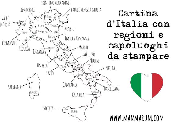 Cartina Spagna Con Regioni E Capoluoghi.Cartina D Italia Con Regioni E Capoluoghi Da Stampare Mammarum Stampe Geografia Italia