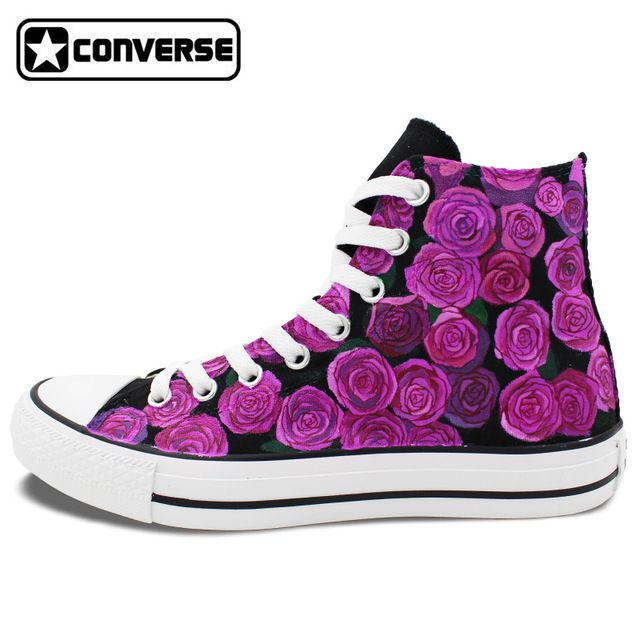 7f283da1c73e Purple Roses Floral Original Design Women Men Shoes Man Woman Converse All  Star Hand Painted Shoes High Top Sneakers Gifts