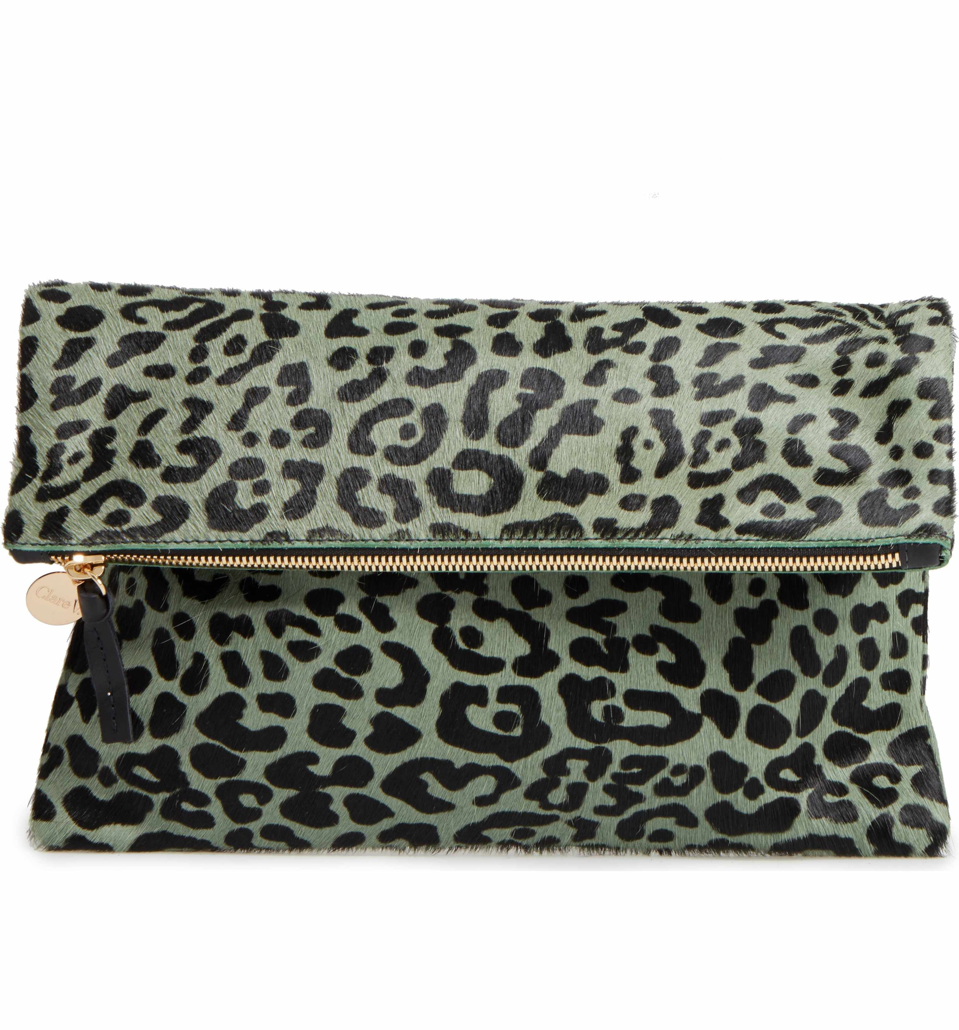 coupon codes discount hot-selling clearance Main Image - Clare V. Leopard Print Genuine Calf Hair ...