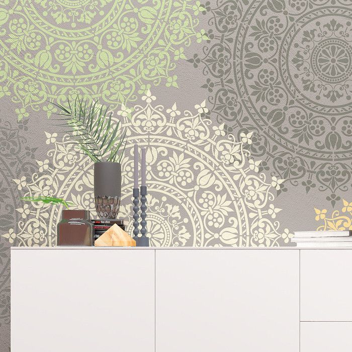 Mandala Style Stencil Floral Motive Wall