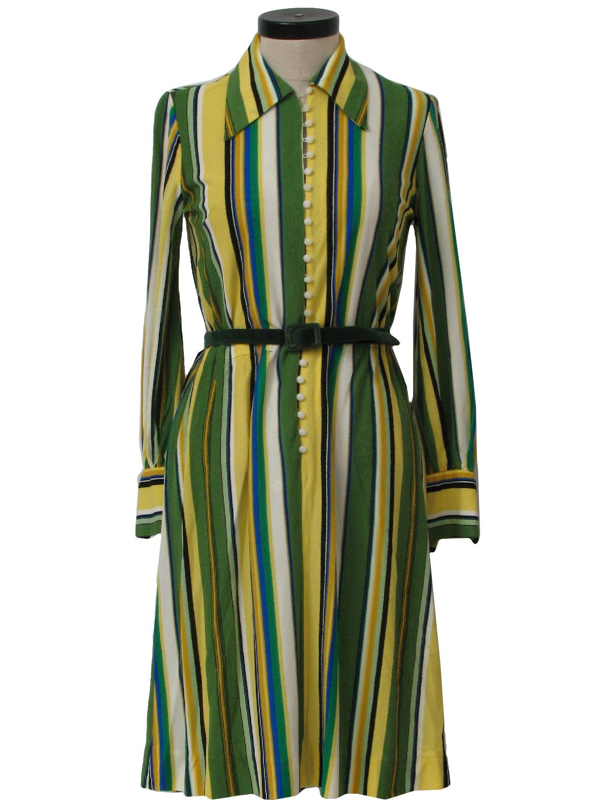 Funky olive stripes meet office ware. 60s -Home Sewn- Womens white, kelly celadon and olive greens, black, yellow, gold, electric blue, knitted-in stripes '60's dress.