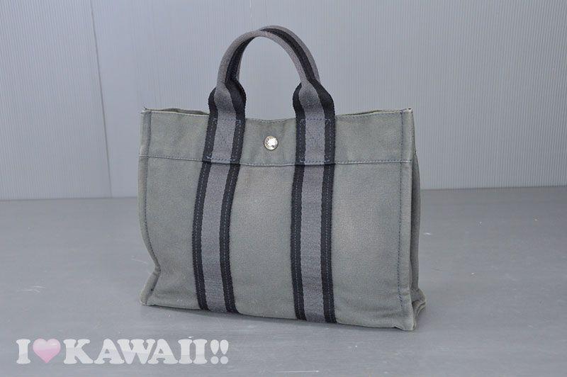 79d88b34410b Authentic Hermes Black   Grey Canvas Fourre Tout PM Tote Bag ...