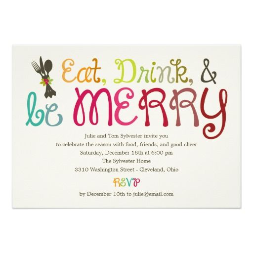 Eat Drink and Be Merry Holiday Party Invitation – Holiday Party Invites