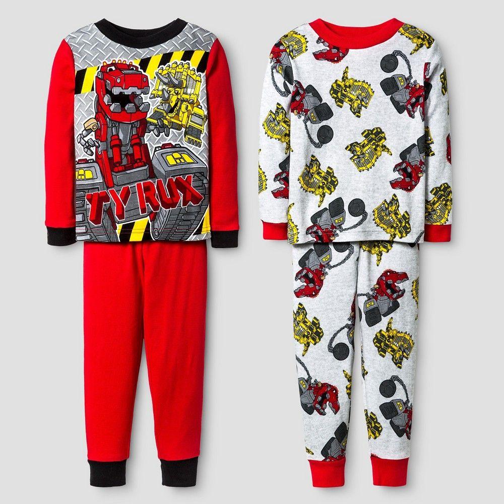 6771c84be Toddler Boys  Dinotrux 4-Piece Cotton Pajama Set Red 4T
