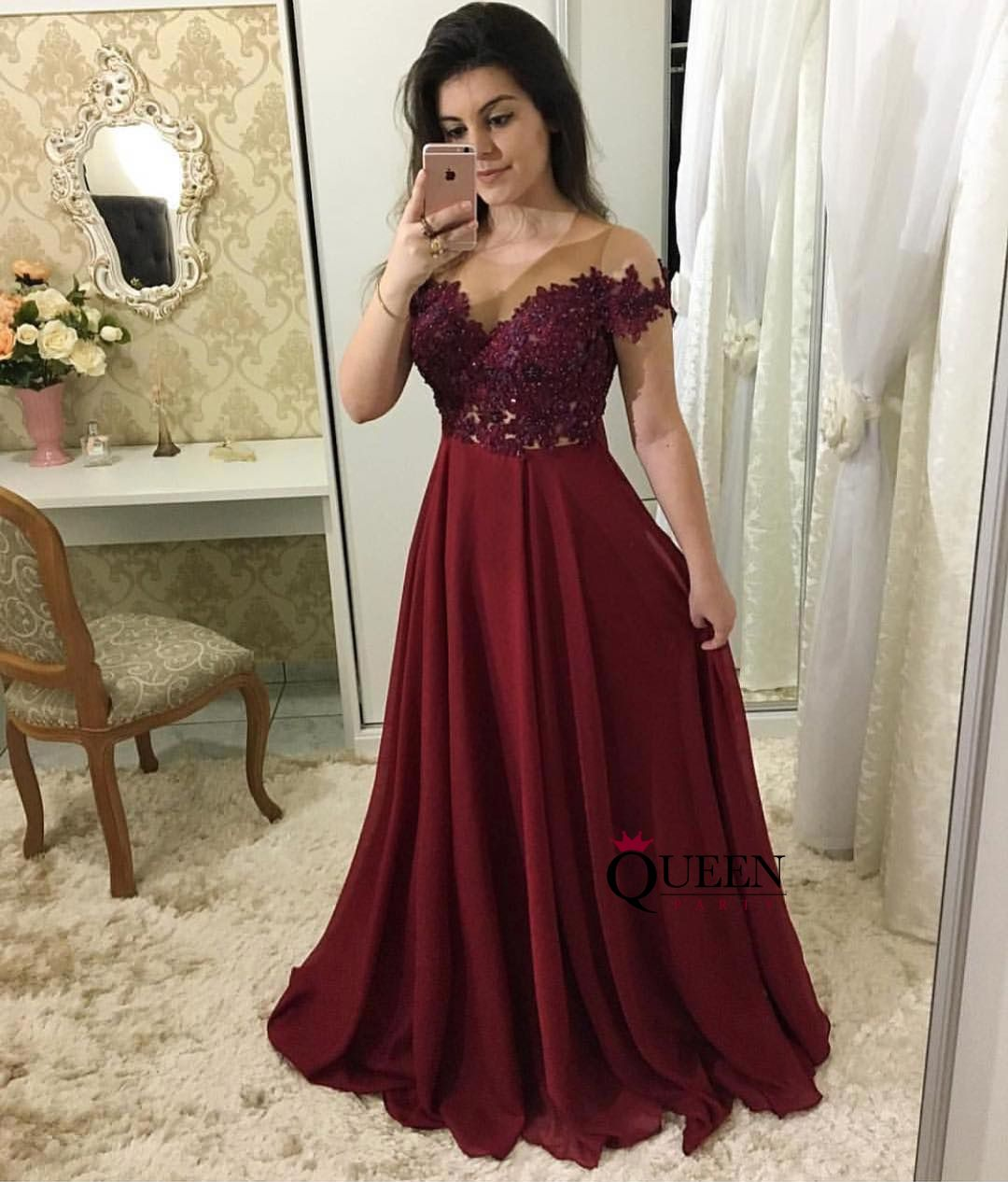 5b2fca15551 Elegant Wine Red Lace Illusion Off-the-Shoulder Chiffon Long Prom Gown With  Zipper Back