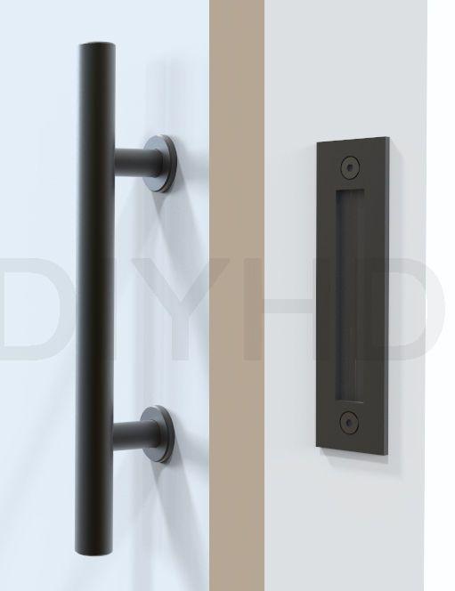 Stainless Steel Black Sliding Barn Door Handle Wood Pull Ebay