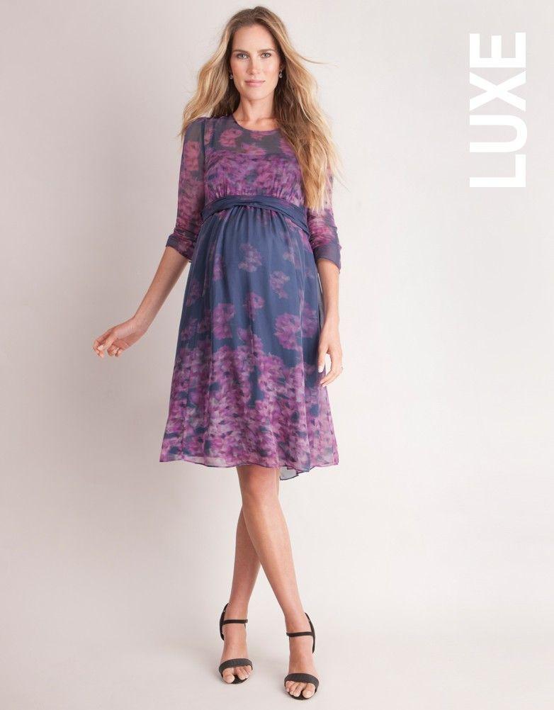 Navy Blue & Pink Floral Silk Maternity Dress | Pinterest