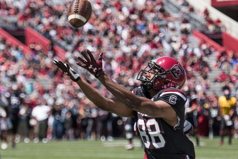 South Carolina wide receiver Javon Charleston reaches to ...