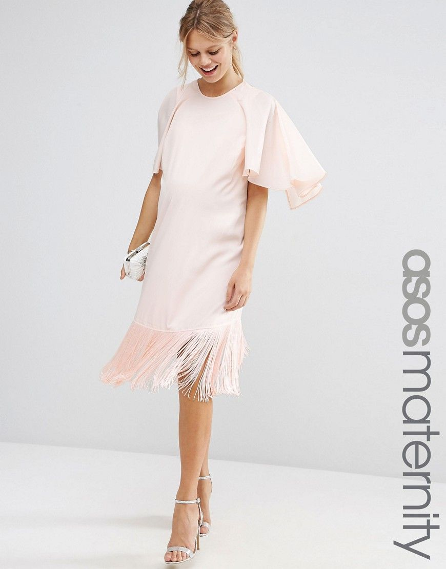ad3074232ec ASOS Maternity 1920s Dress With Fringe Hem And Flutter Sleeve - Nude £58.00  AT vintagedancer.com