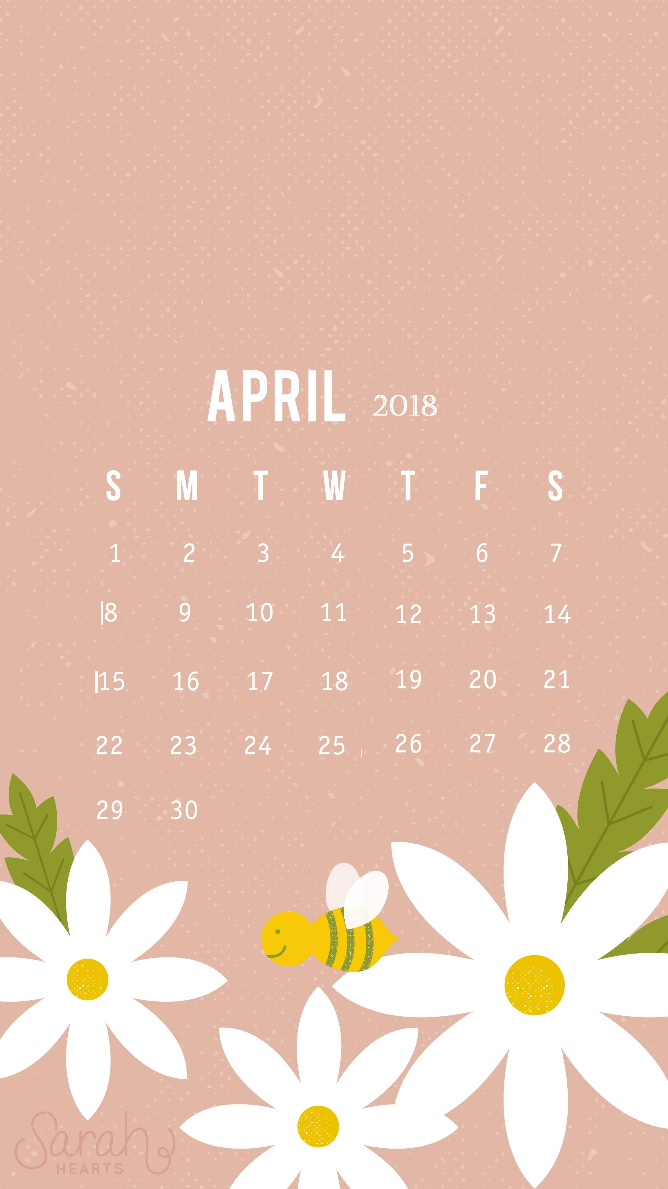 Cute April 2018 Iphone Calendar Wallpaper Calendar 2018 Calendar