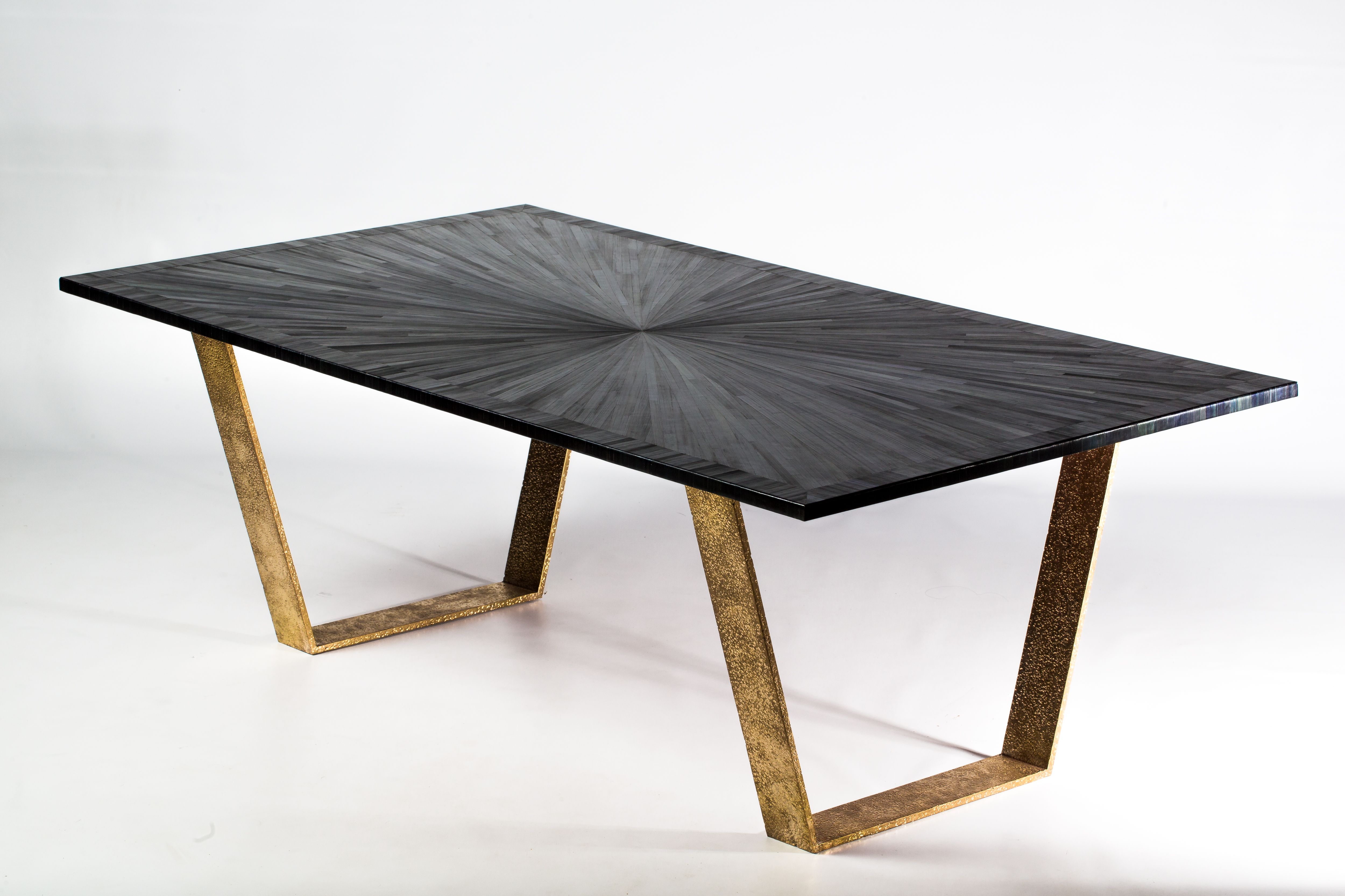 Brut Design Eclipse Table Black Straw Marquetry Hammered