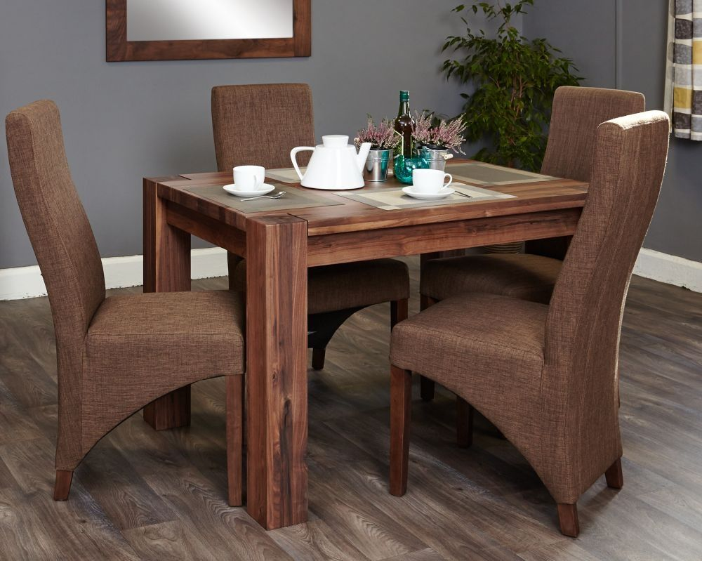 Baumhaus Shiro Walnut Dining Set with 4 Hazelnut Upholstered